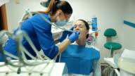 Woman feels pain in dentistry. video