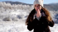Woman Flu Freezing Cold Winter Outdoors Frostbite video