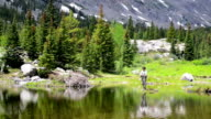 Woman Fly-Fishing in a Mountain Pond video