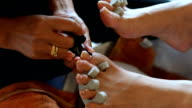 woman foot toenail manicure in beauty salon video