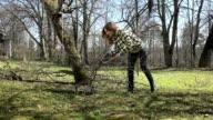 woman gather dry branch behind house. Seasonal work in garden. video