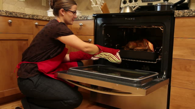 Woman gets Thanksgiving turkey out of oven video