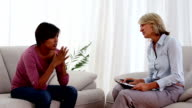 Woman getting depressed at therapy video