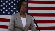 Woman gives political speech video