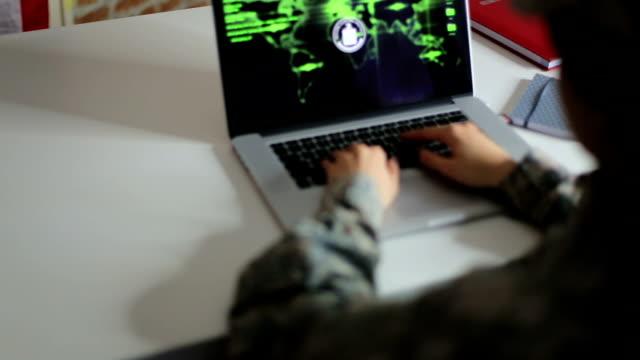 Woman hacker trying to break firewall on website video