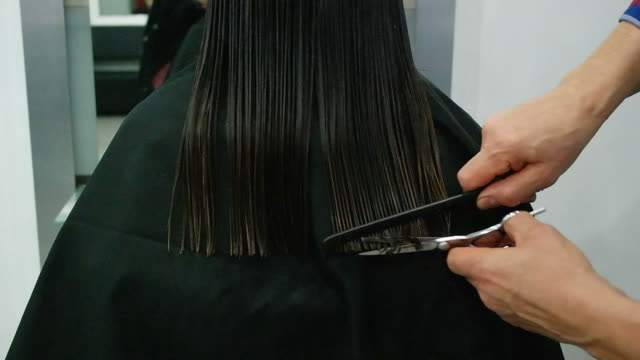 woman haircut in beauty salon video