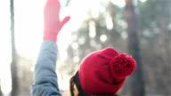 Woman hands in winter gloves video