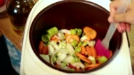 Woman hands stirring vegetables in Multicooker video