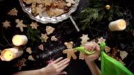 woman hands. Traditional homemade christmas dessert video