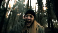 Woman having nervous breakdown in the forest video