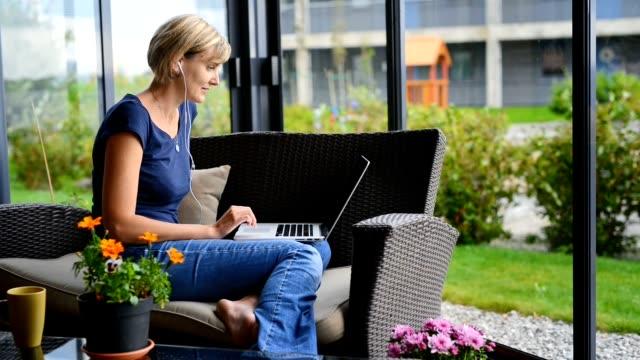 Woman having video chat video