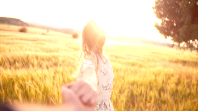 Woman holding hands with boyfriend and running in a field video