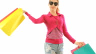 Woman holding shopping bags video