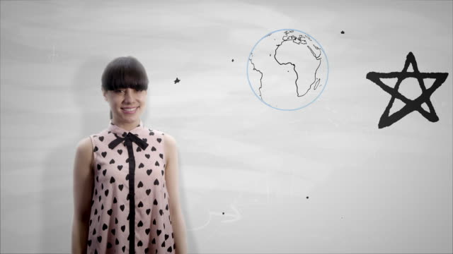 Woman holding the Earth on a white board video