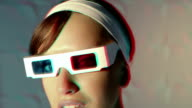 Woman in 3-D glasses video