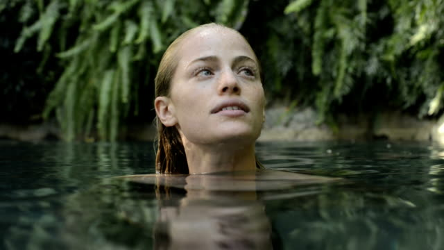 Woman in a natural pool video