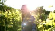 Woman in a vineyard video