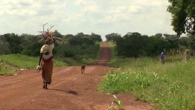 woman in africa walking down dirt road video