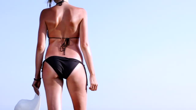 Woman in black bikini video