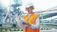 Woman in Hard Hat and Safety Vest in Industrial Environment video