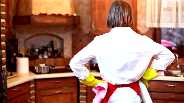 Woman in kitchen video
