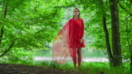 Woman in red dress standing in forest video