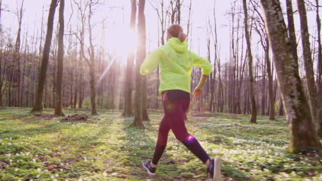 SLO MO TS Woman jogging in a forest on a beautiful spring day video