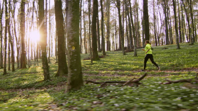 SLO MO Woman jogging in a spring forest on a beautiful sunny day video