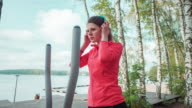 Woman jogging in park video
