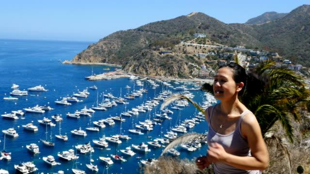 Woman Jogging on Catalina Island in California video