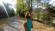 Woman jogging outdoor video
