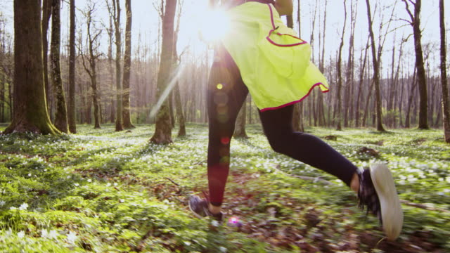 SLO MO TS Woman jogging through a forest on a beautiful spring day video
