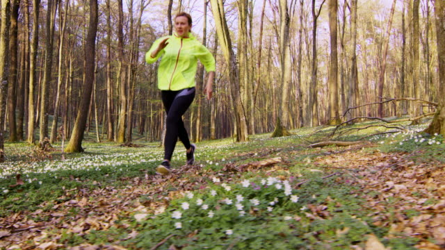 SLO MO  Woman jogging through a spring forest video