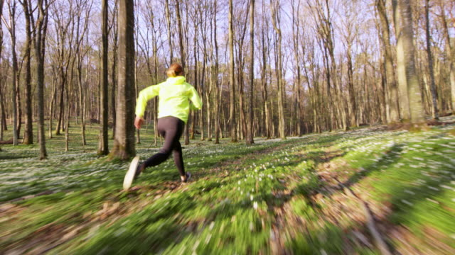 SLO MO TS Woman jogging through a spring forest video