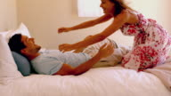 Woman jumping on her partner video
