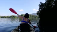 Woman Kayaking in the Lake video