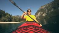 HD: Woman kayaking. video