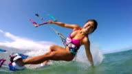 Woman Kitesurfing In Ocean, Extreme Summer Sport video