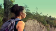 Woman looks thoughtfully into the sky video