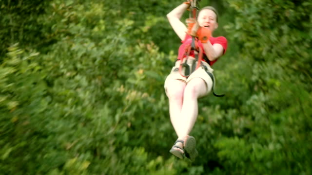 Woman on a zip-line video