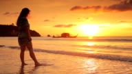 Woman on Beach at Sunset, Thailand video