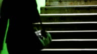 Woman on Dark Green Staircase video