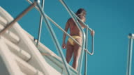 Woman on diving board video