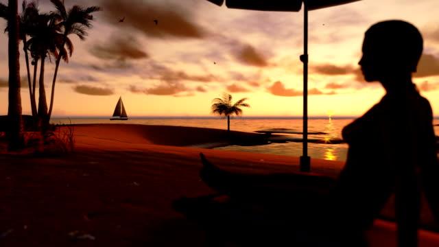 Woman on the beach and yacht sailing at sunrise, tilt video