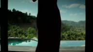 Woman Opens the Door in a Luxury Hotel Room video