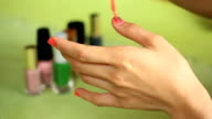 Woman Painting fingernail video