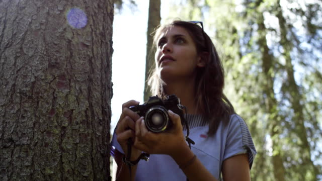 Woman photographer shooting photos with vintage camera in sunny forest.Group of friends summer adventure journey in mountain nature outdoors.Travel exploring Alps,Dolomites,Italy.4k slow motion 60p video