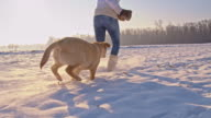 WS Woman Playing With A Puppy In Snow video