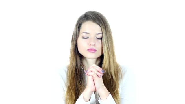 Woman praying  for Forgiveness, White Background video