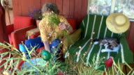 woman prepare medicines camomile bouquets in country view video
